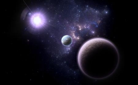 Alternative planetary system. Space - Art Stock Photo
