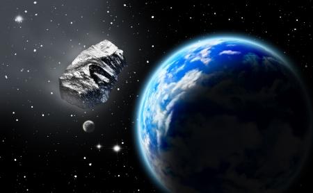 Astéroïde sur la terre spatial approchant