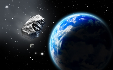 Asteroid in space approaching earth photo