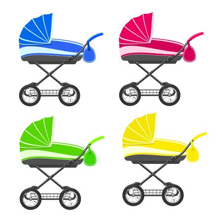 over white: Colored strollers