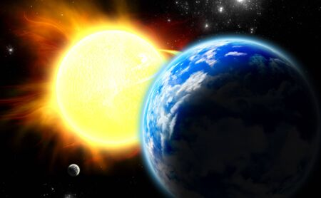 Earth, Moon and Sun. (All art elements made by me) Stock Photo - 18427474