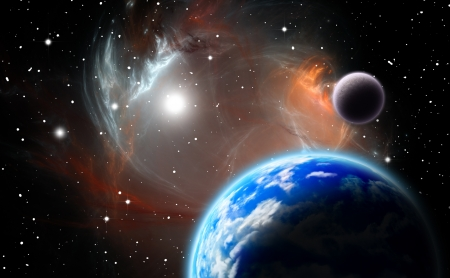 Alternative planetary system.(All art elements made by me)  Stock Photo
