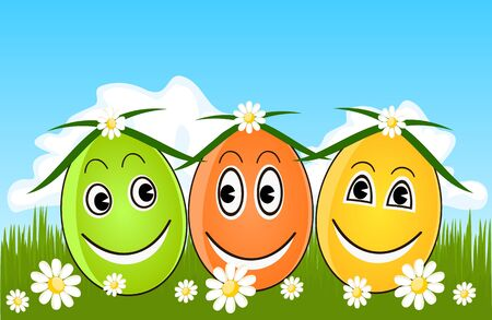 Happy Easter eggs on grass Vector