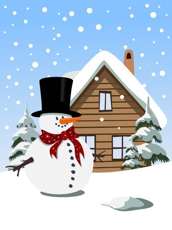 Fond de Noël avec bonhomme de neige