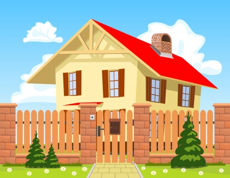 Family house behind the wooden fence with the gate. Vector