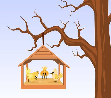 hung: Bird house with birds are hung on branch Illustration