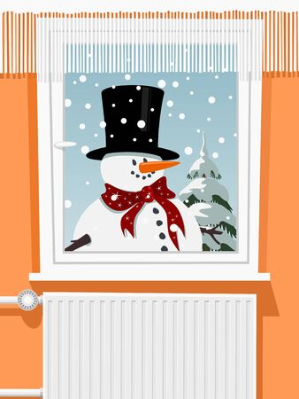 Winter scene from the snowman through window, illustration Stock Vector - 18655605