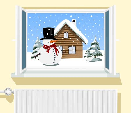 Winter scene through opened window, illustration Vector