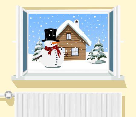 Winter scene through opened window, illustration Stock Vector - 18655611