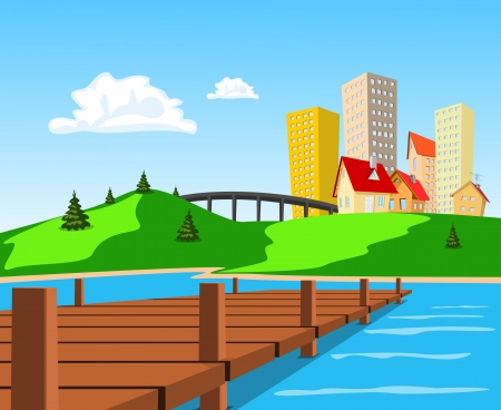 Daytime view of the city across the lake Stock Vector - 18964962
