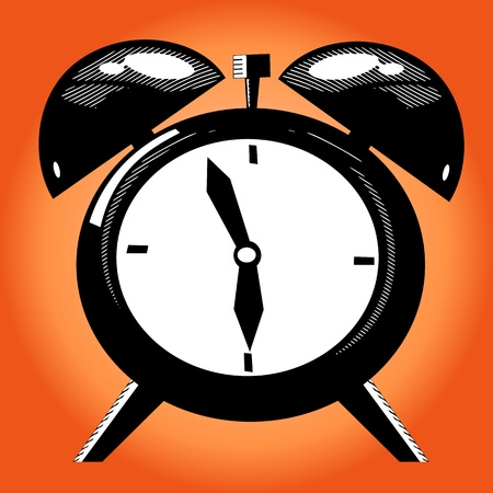 illustration technique: Alarm clock on the orange background. Old illustration technique
