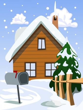 Illustration of house in snow landscape Vector