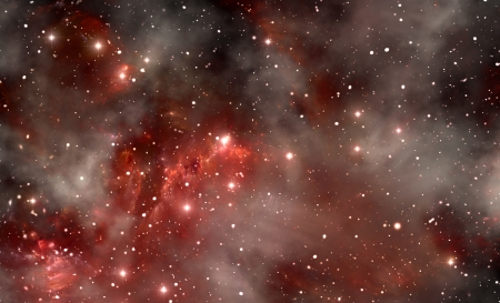 Red space nebula photo