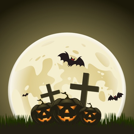 Halloween background with pumpkins and moon in the back Vector