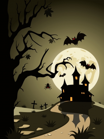 Halloween theme from the castle in the background Stock Vector - 19902485