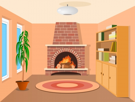 View in room with fireplace Vector