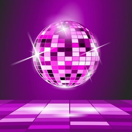 night club: Purple Party background, disco ball  Illustration