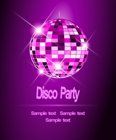 Purple Party background, disco ball  Vector