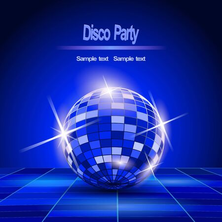 Blue Party background, disco ball  Vector