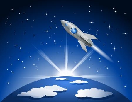 ロケットはスペースに飛ぶ  イラスト・ベクター素材