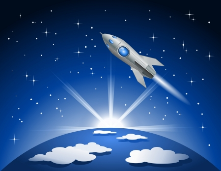 Rocket flying into space Vector