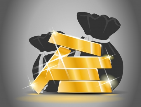 Gold bars from a bag full of money Vector