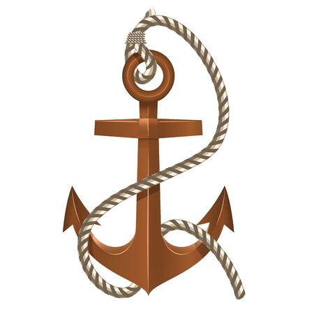 Old Anchor with Rope on white background Vector