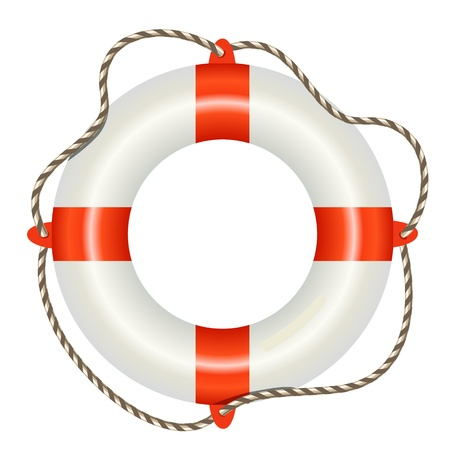 Lifesaver buoy isolated on white background Vector