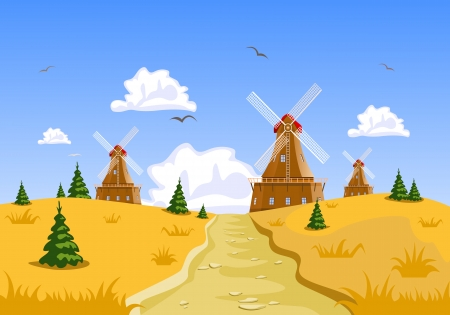 rye bread: Landscape with windmills in the background Illustration