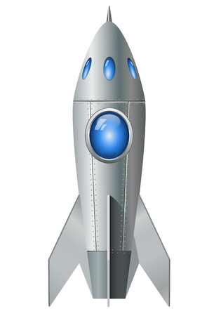 흰색 배경에 고립 로켓