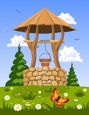 Pozo de agua fresca y natural