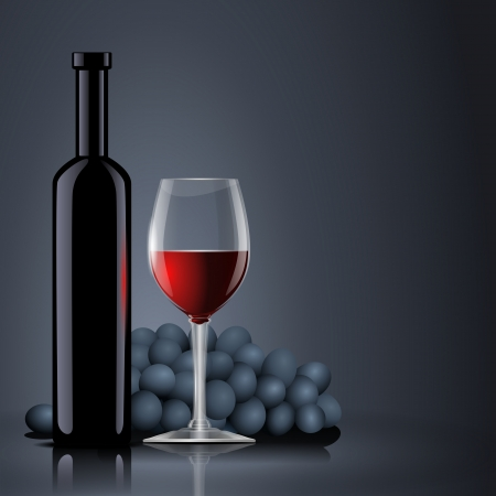 Bottle with red wine with a glass and grapes Vector