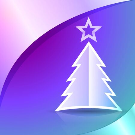 plain postcards: Christmas tree on the colorful background