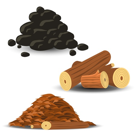 Firewood, Wood Chips and Coal Vector
