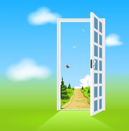 Open door to nature Vector
