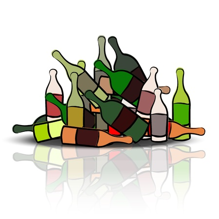 overuse: Pile of empty bottles