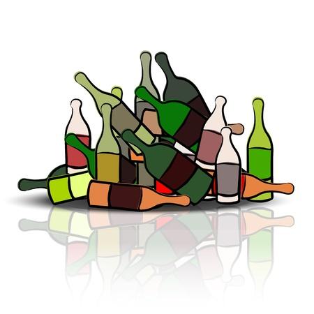 alcoholism: Pile of empty bottles