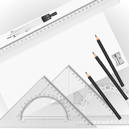 architect drawing: Drawing tools with a drawing in the background Illustration