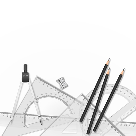 ruler: Drawing tools with a drawing in the background Illustration