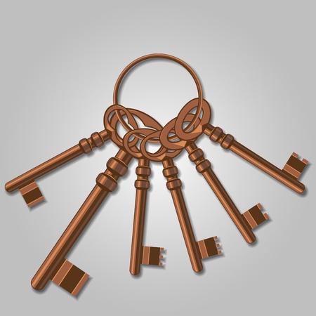 rusty padlock: A bunch of old keys. Vector Illustration Illustration