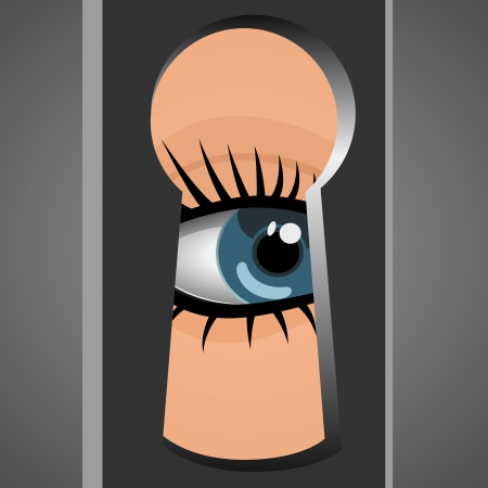 peephole: Woman looks through a keyhole Illustration