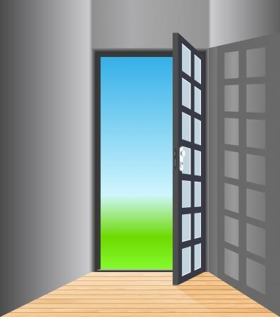 Vector empty room with opened door Stock Vector - 22072518