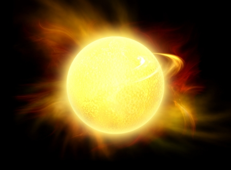 hot spot: Sun radiating a solar wind. Illustration(All art elements made by me) Stock Photo