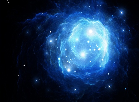 Blue space nebula (All art elements made by me) photo