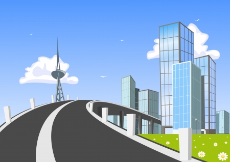 Road into town  Vector Illustration Stock Vector - 23068784