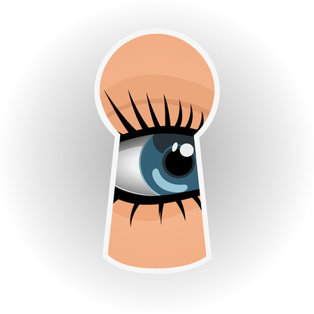 Woman looks through a keyhole Illustration