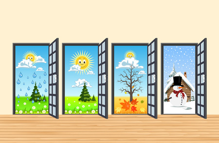 Spring Summer Autumn Winter four doors in corridor Illustration