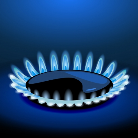Flames of gas stove in the dark. Vector Vector