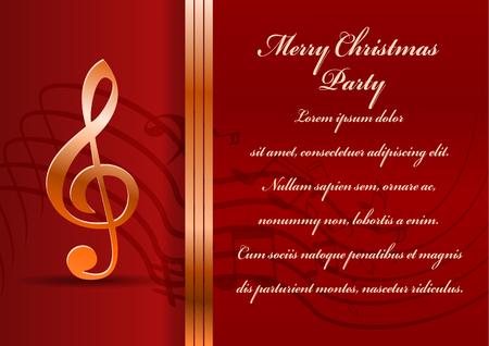 lugar: Tarjeta de la fiesta de Navidad. Celebraci�n de fondo con clave de sol y el lugar para el texto.