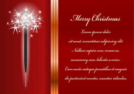 Christmas card. Celebration background with sparkler and place for your text. Vector